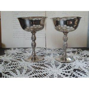 画像1: スペイン アンティーク シルバープレート ワインゴブレット ペア