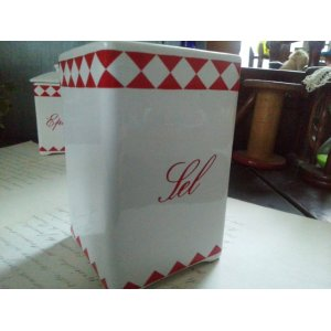 画像4: フランス アンティーク 陶器キャニスター「Sel」
