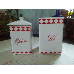 画像5: フランス アンティーク 陶器キャニスター「Sel」