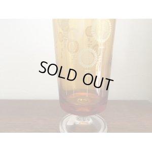 画像3: 昭和レトロ アデリア ひまわり柄 アンバー 足付き グラス