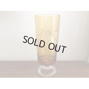 画像1: 昭和レトロ アデリア ひまわり柄 アンバー 足付き グラス