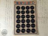 フランス ヴィンテージ ボタンシート 黒ボタン 24個set
