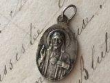 アンティーク メダイ 聖心を指すキリスト/カルメル山の聖母